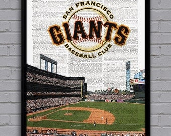 San Francisco Giants art print with stadium on dictionary page. Nice gift for baseball fan! Man cave, college dorm room decor.