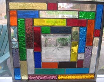 COLORBRIGHT 2 stained glass panel window suncatcher  OOAK
