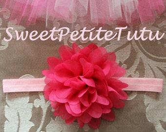 Pink headband, Pale Pink and Hot Pink headband, Light Pink headband, pale pink headband, Preemie headband, newborn headband, flower girl
