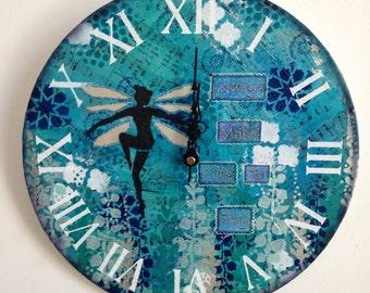 "12"" original mixed media fairy wall clock"