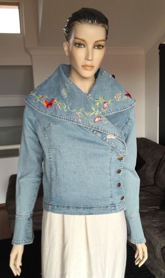 Vintage denim folk embroidered jacket