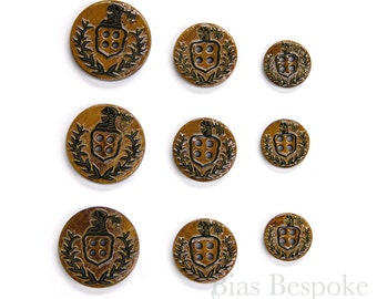 Sets of Brown Lacquered Horn Coat of Arms 4-Hole Buttons for Suits and Coats, Made in Italy