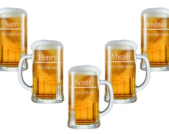 Personalized Beer Mug - 12oz / Groomsmen Gifts / Wedding / Engraved / Custom Glassware / Groomsman Gift / 16 DESIGNS / Select ANY Quantity