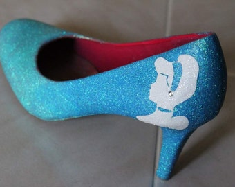 Cinderella Two Toned Sparkly Shoes| Blue Glitter| Cinderella heels