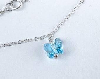 Sterling Silver Ankle Bracelet, Silver Ankle Bracelet, Aquamarine Blue Crystal, Anklet
