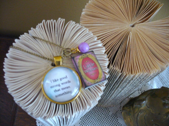 Book Nook Necklace, Little Women, Antique Gold, Pink Bead, Quote Necklace, Bead Chain, Literature Necklace, MarjorieMae