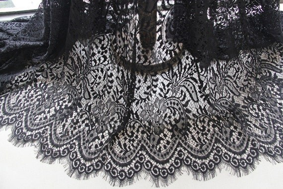 black eyelash lace fabric embroidered bilateral