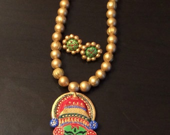 Terracotta Jewelry - Terracotta necklace and jhumka set - Kathakali Necklace set.
