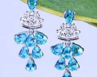 Blue and White Topaz Chandelier Sterling Silver Post Earrings