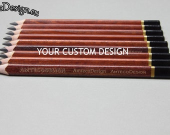 Customized pencils, engraved, set of 5, personalized, custom, Koh-I-Noor triangular - jumbo size