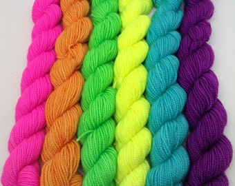 Back to School Mini Skein Set - Hand Dyed Fingering Weight Yarn - Bootheel (480 yards)
