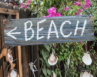 Weathered Wood Sign, Silverware Fish, & Seashells Wind Chime TFWC017