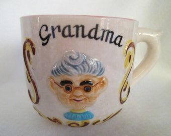 Vintage Large Ceramic Grandma Mug Coffee Cup Planter or Candy Dish with Grandma's Favorite