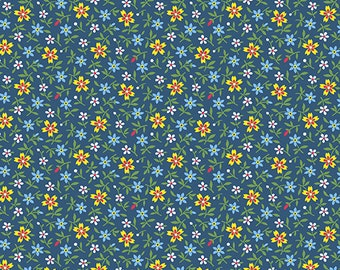 1 yard Little House on the Prairie Navy Tossed Flowers
