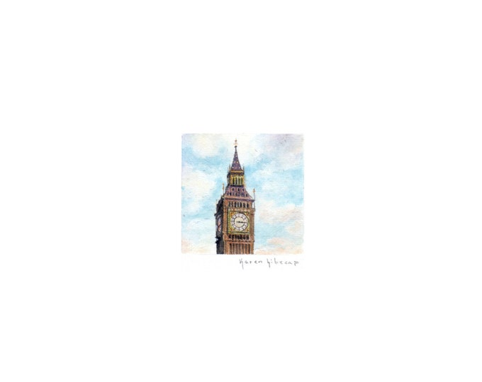 "Print of miniature painting of the Big Ben 1 1/4 x 1 1/4"" print of original Big Ben Clock Tower painting on 5"" square german etching paper"