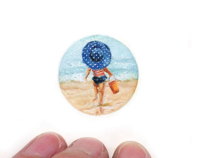 Original Miniature painting of Little Girl On The Beach painting, Little Girl on the Beach tiny art 5 x 5