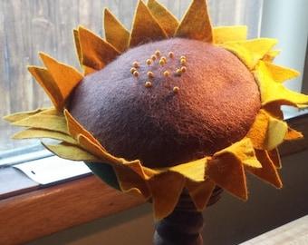 Wool Sunflower Pincushion