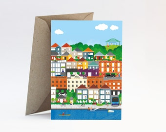 Teneriffe Brisbane – Housewarming, welcome, farewell, I miss you or Thinking of you card with envelope