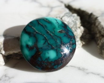 Chinese Turquoise with Black Matrix Cabochon   C352