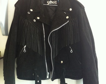 SALE! Schott black suede leather motorcycle jacket perfecto shape with fringes / 38 / medium