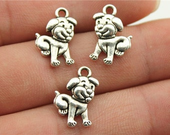 3 Puppy Dog  Charms in antique silver.  Wholesale charms.  Silver Charms. Wholesale Findings.  Jewelry Findings.