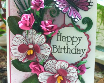 Quilled card / Birthday card/ Handmade / Quilling / Greeting card - Vintage/Romantic ORCHIDS & ROSES