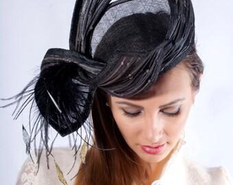 Elegant derby headpiece, Ascot fascinator hat, black Royal Ascot fascinator, Kentucky derby hat, black silver hat, Haute Couture headpiece