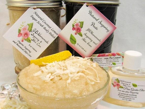 Sugaring Paste & Natural Coconut Lemon Sugar Scrub Bundle