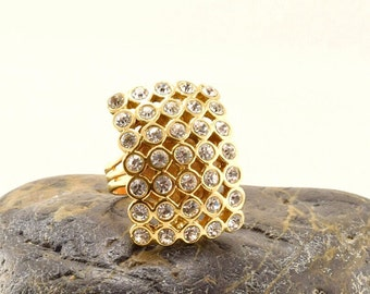 Rhinestone gold ring, square rhinestone  ring, adjustable ring, upcycled vintage clip earring, statement ring