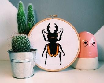 Ondontolabis Cuvera Beetle Embroidered Hoop