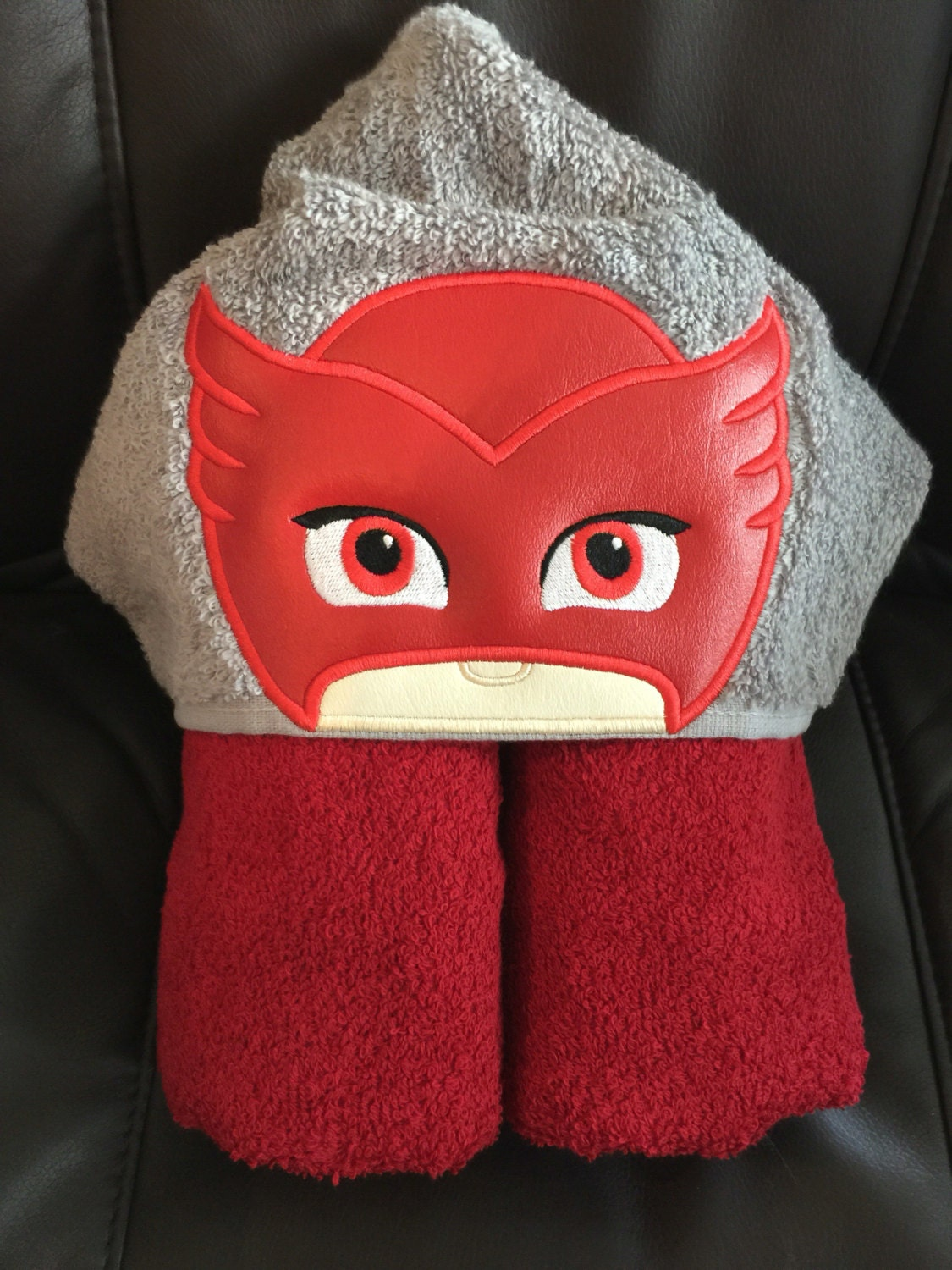 Owlet/Owlette PJ Masks Inspired Embroidered Hooded Towel