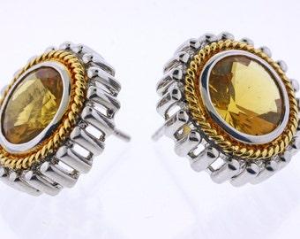 Yellow CZ Earrings in Sterling Silver