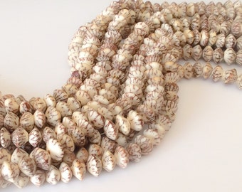 "Saucer Betel Nut Beads Salwag 10mm Saucer Natural 16"" strand"