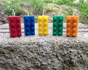 Lego inspired BIRTHDAY CANDLES 5 for 5.00