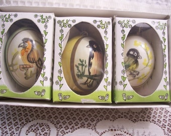 Nine German Hand Painted Real Eggshell Ornaments