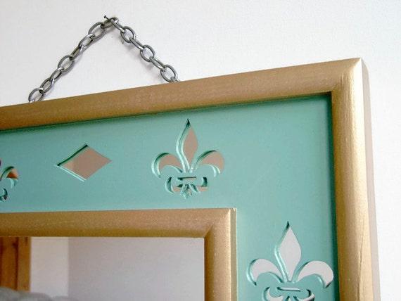 Fleur de lis miroir d coration murale miroir chambre miroir - Decoration murale miroir ...