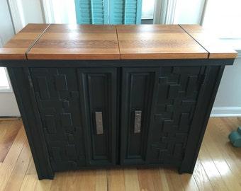 SOLD - Wood Butcher Block Bar Cabinet in Black