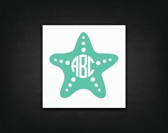Starfish Monogram Decal - Laptop Decal, Car Sticker