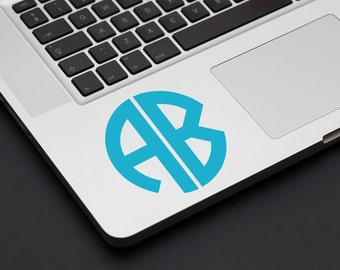 Two Letter Monogram Decal - Laptop Decal, Car Sticker