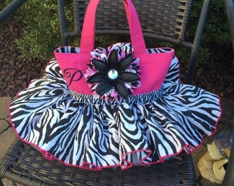 Medium (11x8x3) tutu tote bag with large flower and initial or small name to the left of the flower