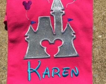 Personalized Glittery Vinyl  Disney Castle Applique Shirt Disney World Minnie Mickey Mouse Mickey Head Shirt Disney Family Shirt
