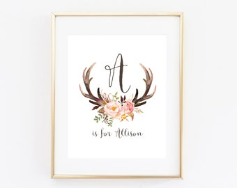 Antler Nursery Wall Art Printable Baby Name, Girl Tribal Woodland Baby Shower Decor, Little Deer Floral Personalized Gift