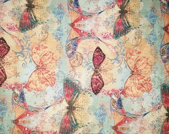 Watercolor butterfly cotton fabric quilting