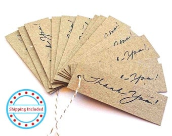 Thank You Tags, Chipboard Tags, Chipboard Gift Tag, Chipboard Thank You Tags, 3x1 inch tags