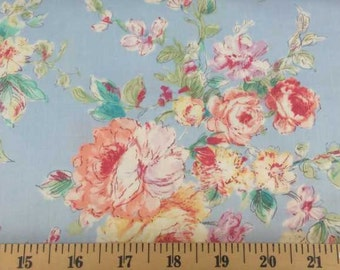 BLUE SHABBY CHIC Fabric By Yard, Half, Fat Quarter Shabby Floral Fabric Pink Rose Fabric 100% Cotton Quilting t1/28