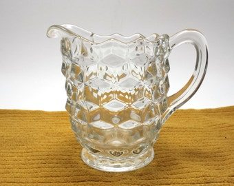 Vintage Hobnail Glass Pitcher | 5 inches tall | 3.5 inch diameter
