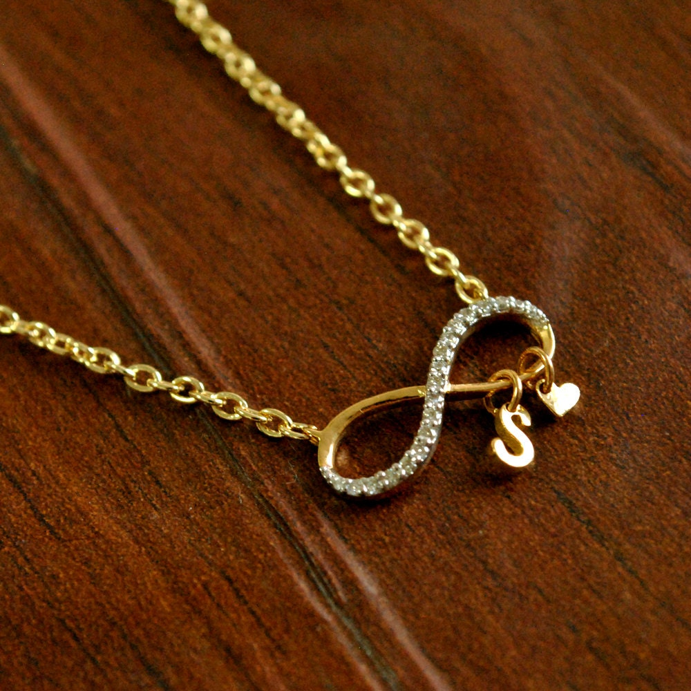 Infinity initial necklace custom initial heart 14k gold for Custom letter necklace gold