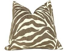"Ethan Allen Large Animal Stripe Zebra Tiger Brown Cream Designer Upholstery Pillow Cushion Zipper Cover, Fits 16"" 18"" 20"" 22"" 24"" Inserts"