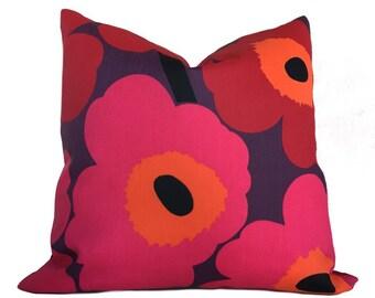 "Marimekko Red Pink Purple Poppy Flower Pieni Unikko 2 Maija Isola Pillow Cushion Zipper Cover, Made to fit Lumbar 16"" 18"" 20"" 22"" 24"""