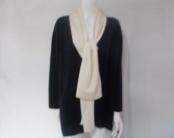 Vintage Marks & Spencer St Michael cardigan jacket 80s wool mix navy cream cardigan size large X large